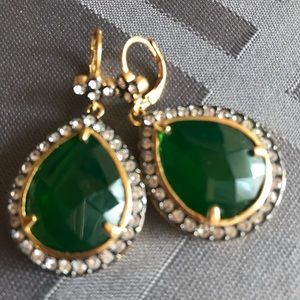 Kenneth Jay Lane Faux Emerald and Diamond Drops